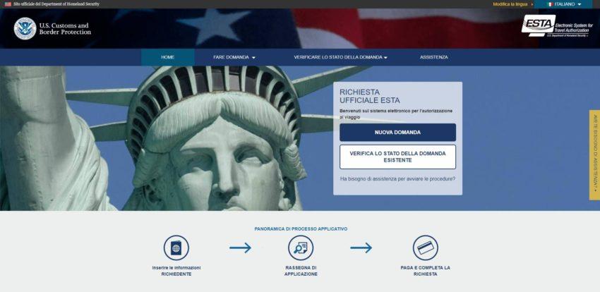 Home page sito ufficiale ESTA